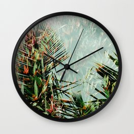 Palm Leaf Double Exposure Wall Clock