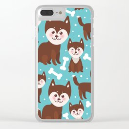 funny brown husky dog and white bones, Kawaii face with large eyes and pink cheeks blue background Clear iPhone Case