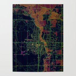 Park Rapids old map year 1969, united states old maps, colorful art Poster