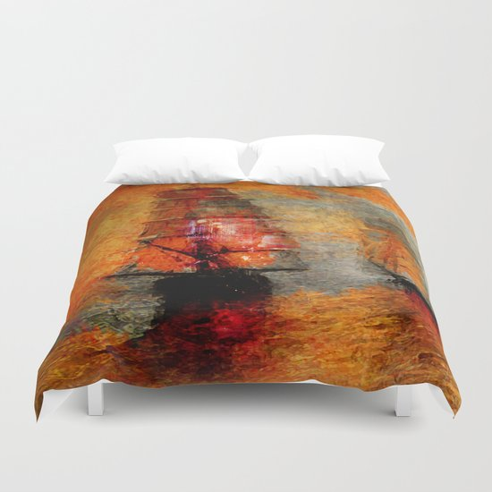 melancholic boats Duvet Cover