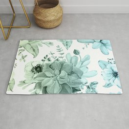 Simply Succulent Garden in Turquoise Green Blue Gradient Rug