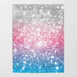Galaxy Sparkle Stars Cotton Candy Poster