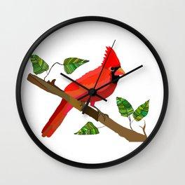 Cardinal On a Branch Wall Clock