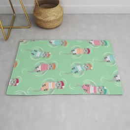 Otters Aqua Green Pattern Rug