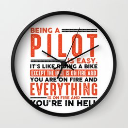 Being an Electrician Is Easy Shirt Everything On Fire Wall Clock