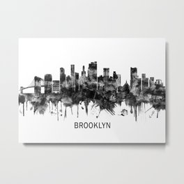 Brooklyn New York Skyline BW Metal Print