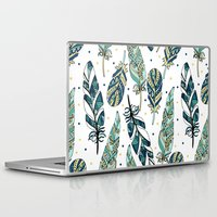 feathers Laptop & iPad Skins featuring Feathers by Julia Badeeva