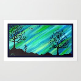 Happy Critter Tree no. 4 Art Print