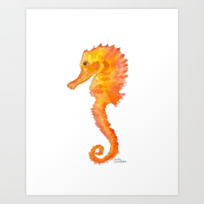 Seahorse Watercolor Painting Orange Ocean Animal Art Print By Susanwindsor Society6