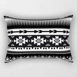 Aztec Pattern Black and White Rectangular Pillow