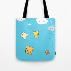 Flying Toast On Blue Tote Bag