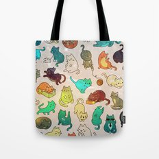 Space Cats Nebula Turquoise Tote Bag