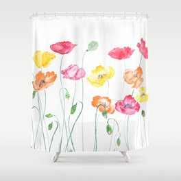 colorful poppies watercolor  horizontal Shower Curtain