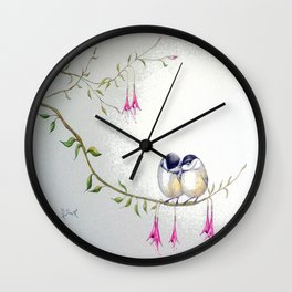 Two Chickadees Wall Clock
