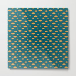 Mid Century Modern Fish in Gold on Teal Metal Print