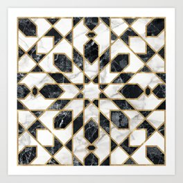 Black and white marble Moroccan mosaic Art Print