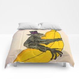 Banana Bat Wearing a Hat Comforters