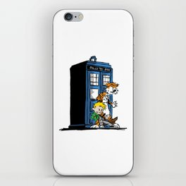 calvin and hobbes police box in action iPhone Skin