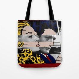 """Roy Lichtenstein's """"In the car"""" & Marcello Mastroianni with Anita Ekberg in La Dolce Vita Tote Bag"""