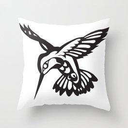 Hummingbird black on white Throw Pillow