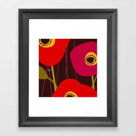 Red Poppy Flowers by Friztin Framed Art Print