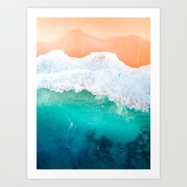 Tiny Surfers in the Blue Ocean Art Print
