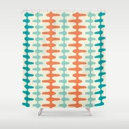 Retro Mid Century Modern Trellis Print Orange and Teal Shower Curtain