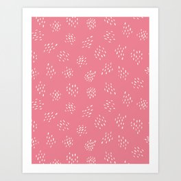Abstract Lines - White on Pink Art Print