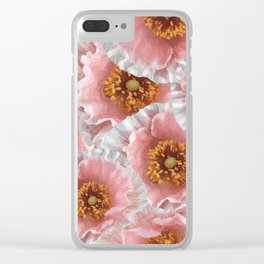 White pink poppies Clear iPhone Case