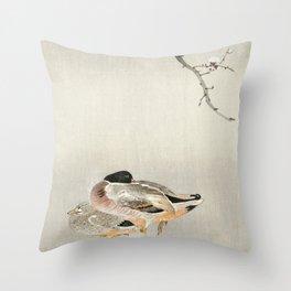 Ducks and full Moon - Japanese vintage woodblock print Throw Pillow