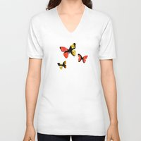 stained glass V-neck T-shirts featuring Stained glass by Pirmin Nohr
