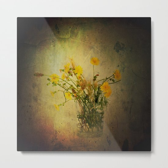 One Glass with pretty yellow weeds Metal Print