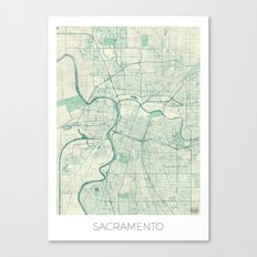Sacramento Map Blue Vintage Canvas Print