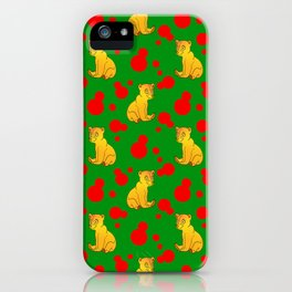 Little bears. Cute adorable funny baby bear cubs and bold red retro dots green seamless pattern iPhone Case