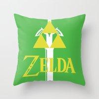 the legend of zelda Throw Pillows featuring Legend of Zelda by CJones5105