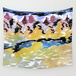 Red Trees In Winter Wall Tapestry