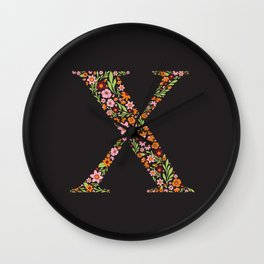 Retro Floral Letter X Wall Clock