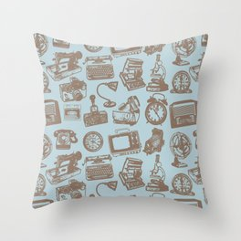 blue vintage pattern Throw Pillow