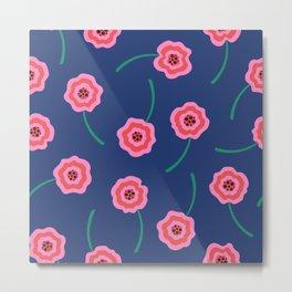 Pink liquid flowers pattern on blue Metal Print