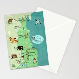 Appalachian Trail Hiking Map Stationery Cards