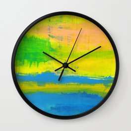 'A Sunny Day' Yellow Coral Blue Abstract Art Wall Clock