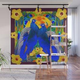 BURGUNDY  TROPICAL YELLOW HIBISCUS & BLUE PEACOCKS Wall Mural