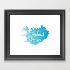Iceland I love you - ice version Framed Art Print