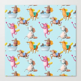 Cute and Whimsical Horse Pattern on Light Blue Canvas Print