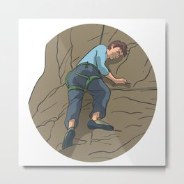 Rope climbing mountaineering rocks Metal Print