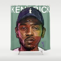 kendrick lamar Shower Curtains featuring K Dot by Sampson the Artist