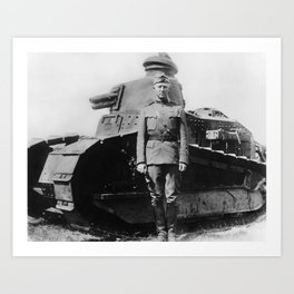 George Patton Beside a Tank - WWI Art Print