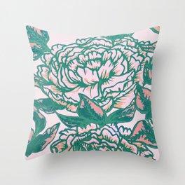 Peonies - Flowers - pink, green, cream, Throw Pillow