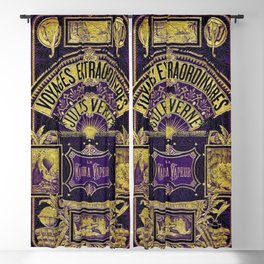 Jules Verne Voyages Extraordinaire Purple Lithographic Print by Jeanpaul Ferro Blackout Curtain
