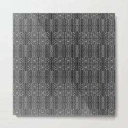 Black and White Kapa Geometric Hawaiian Bark Cloth Metal Print